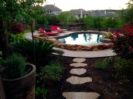 Flagstone pavers poolside