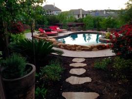 Flagstone pavers poolside
